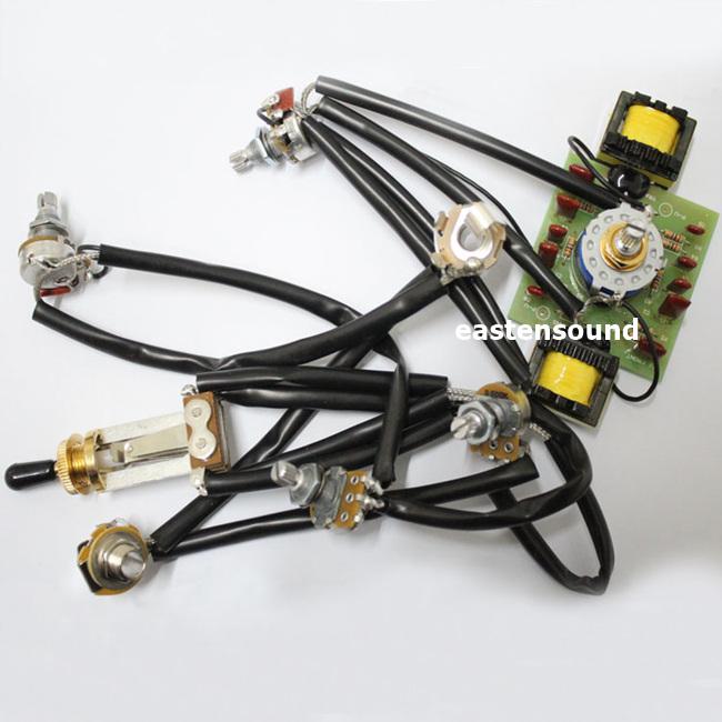 吉他配件商城 guitar wiring harness kit 2v2t 3 way toggle switch with varitone  switch